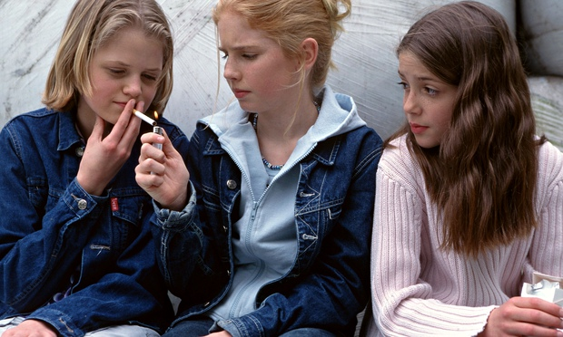 Teenage girls smoking