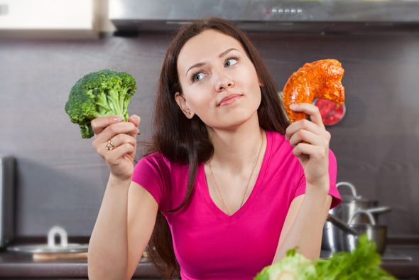 woman-deciding-on-meat-or-vegetables